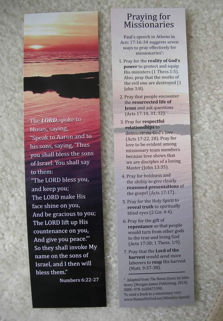 Missionary Prayer Card
